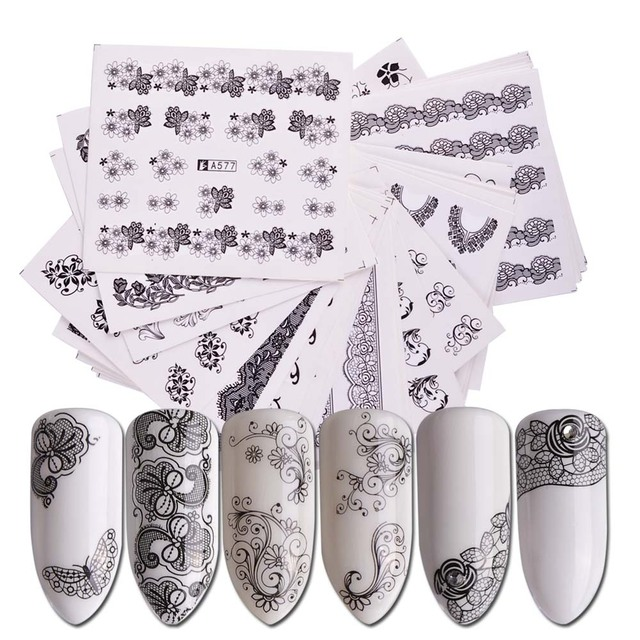40pcs Nail Sticker Water Decals Flowers Watermark Ink Slider for Nails Art Decoration Gel Nail Manicure Accessories JISTZ352-391