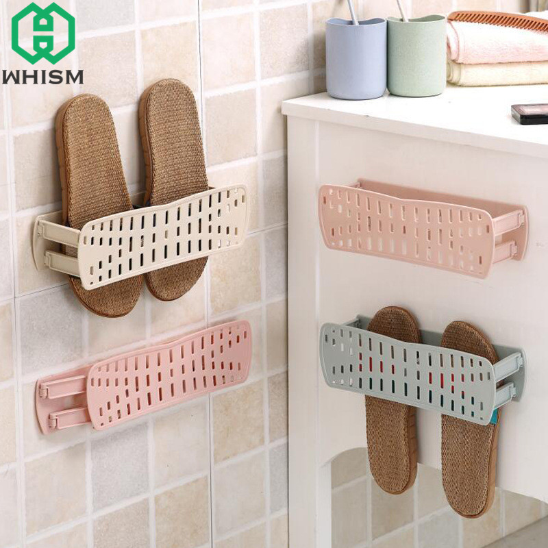 WHISM Plastic Shoe Storage Racks Self Adhesive Shoes Cabinet Organizer Wall  Mount Shoes Stand Folding Shoe Shelf Bathroom Holder In Shoe Racks U0026  Organizers ...