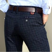 Männer Frühjahr Herbst Business Kleid Hosen Blau Schwarz Plaid Casual Hosen Hosen Männer Pantalon Hombre