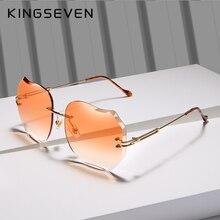 KINGSEVEN BRAND DESIGN 2018 New Fashion Sunglasses UV protection Rimless Sun Glasses For Women Pink Gradient Lens N8006