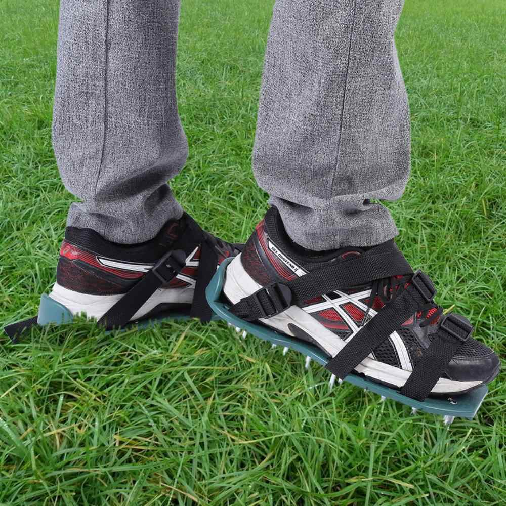 Grass Aerator 1 Pair Of Lawn Aerator Sandals Heavy Duty Grass Spiked Shoes With Plastic Buckle Garden Tool