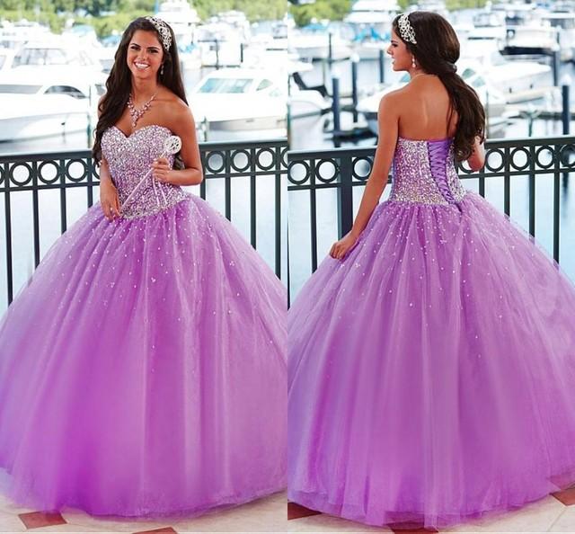 541dac5695 2015 Light Purple Luxury Sequins Quinceanera Dresses Ball Gown Sweet 16  Girl Dress Organza Cheap Brithday Prom Gowns