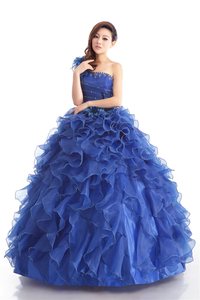 Image 4 - 格安ブルーカラーストラップレスビーズシャーリングウェディングドレス 2020 韓国女性アート試験ガウン部分ドレス vestidos デ · ノビア
