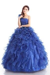 Image 4 - Cheap Blue Color Strapless Beading Ruched Wedding dress 2020 Korean Female Art Exam Gowns Part Dress Vestidos De Novia