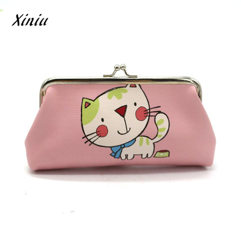 Women Lady Retro Vintage Leather Small Cat Wallet Hasp Purse Clutch Bag women bag change purse monederos para mujer monedas