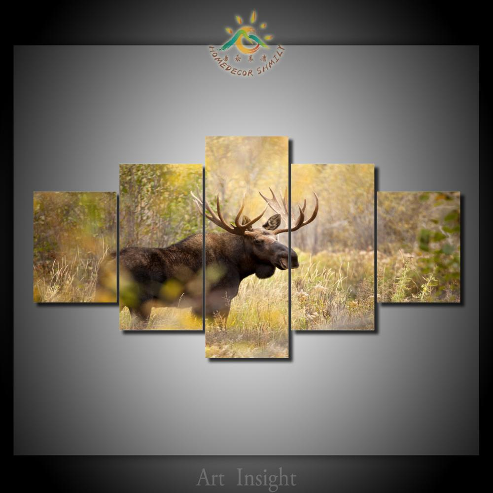 5 piecesset hd printed moose wall art paintings picture print on 5 piecesset hd printed moose wall art paintings picture print on canvas for home decoration wall art picture for living room solutioingenieria Gallery