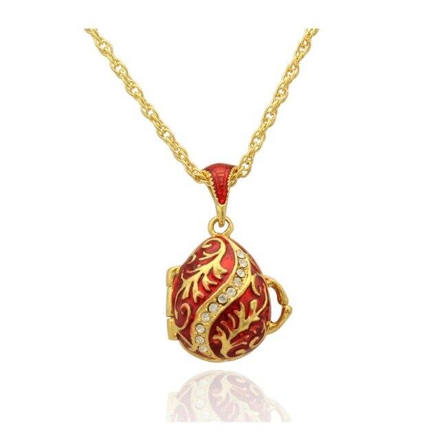 Geschenke Russland Weihnachten.Us 17 75 Geeignet Für Europäischen Luxus Marken Halskette Retro Muster Mit Rot Emaille Ei Anhänger Halskette Kristall Russland Weihnachten