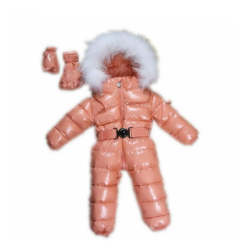 Меховой зимний комбинезон для новорожденных комбинезон Детский комбинезон толстый для мальчиков и девочек зимняя одежда пальто на утином