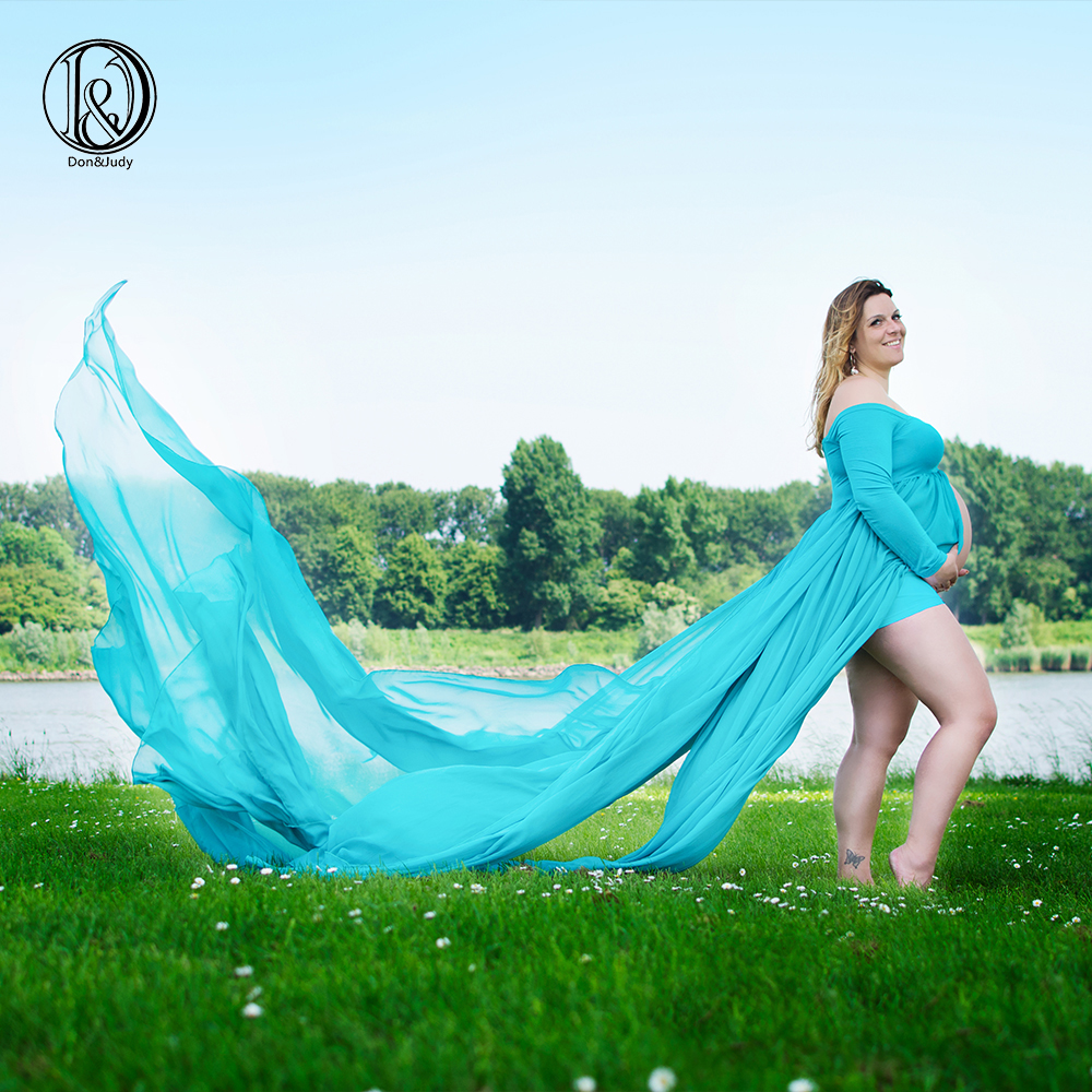 D&J Maternity Clothing Photography Props Woman Maxi Dress Chiffon Long Length Lengthen Clothes For Pregnant Women Pregnancy