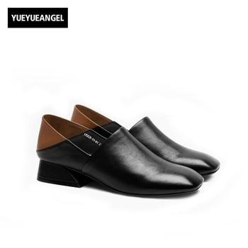 Italian New Women Slip On Loafers Retro Genuine Leather Block Heels Mules Comfort Office Ladies Pumps Casual Footwear Female