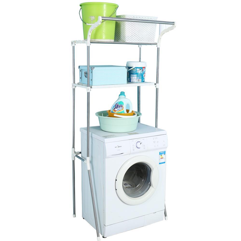 Support de stockage de salle de bains de Type 2 couches de plancher en métal pour la Machine de lavage étagère d'organisateur de toilette de serviette avec le poteau de cintre DQ5021-3