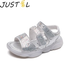 JUSTSL Kids Sandals 2019 New Fashion Summer Children's Beach Shoes Soft Bottom Little Girl Princess Crystal Transparent Shoes(China)