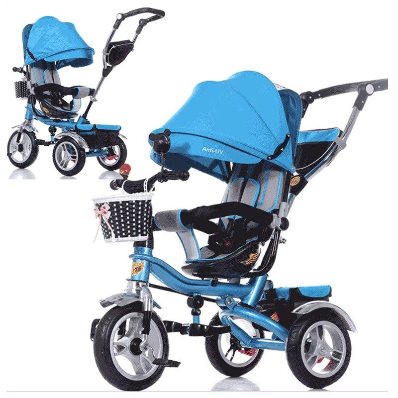 Siège pivotant bébé Tricycle vélo enfants vélo poussette chariot trois 3 roues bébé chariot enfant landau Buggy poussette 6M ~ 6Y