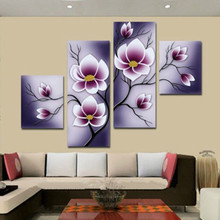 Hand-painted Abstract Acrylic Purple Flower Oil Paintings on Canvas Home Decor Arts Large 4 Panel Wall Painting