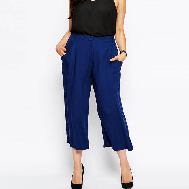 c71e957cc4a placeholder Brand Fashion High Waist Cropped Palazzo Elegant Culotte Office  Suit Pants Plus Size Luxe Wide Leg