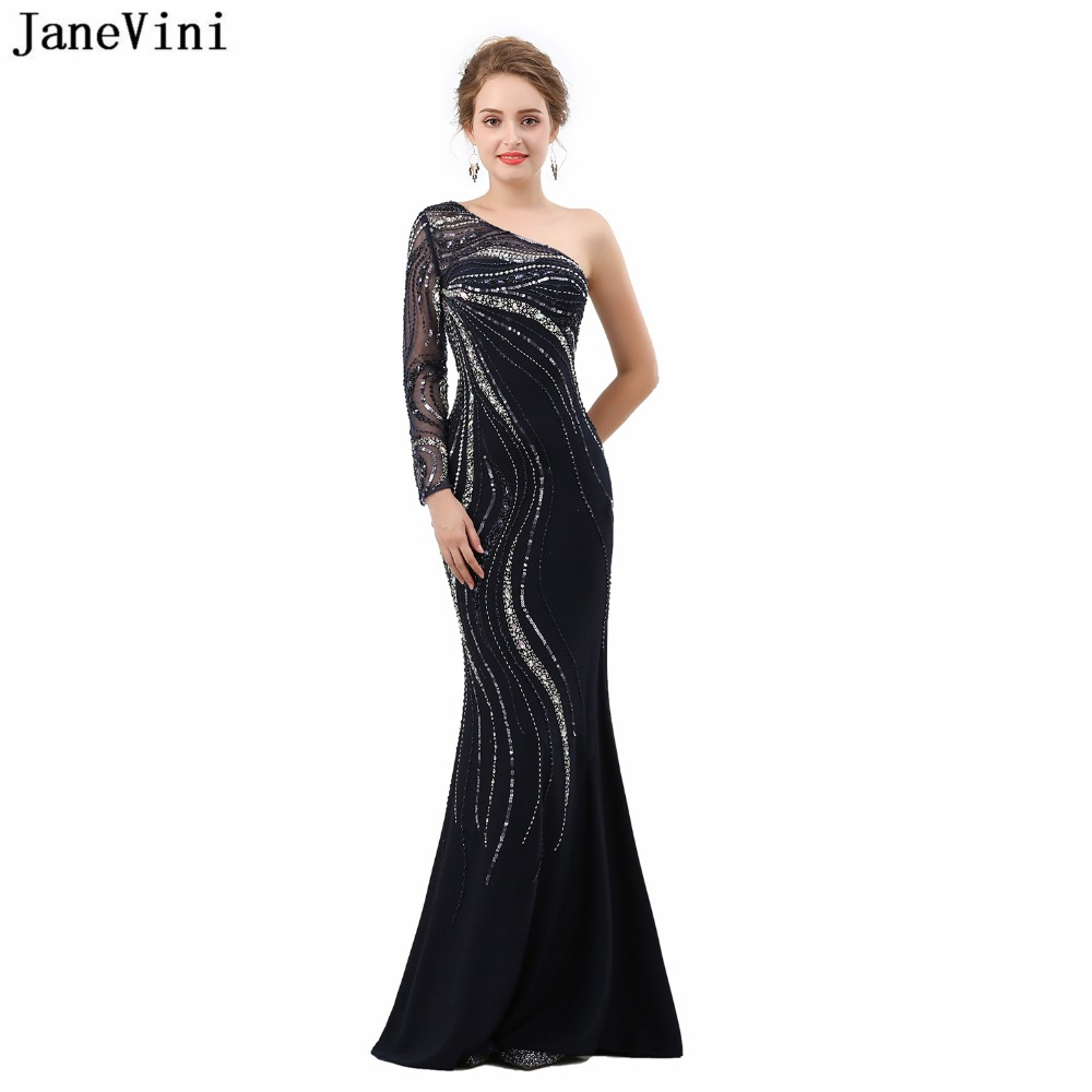 JaneVini Sexy Black Mermaid Mother of The Bride Dresses One Shoulder 2019 Luxury Beading Long Sleeves Dubai Formal Evening Gowns