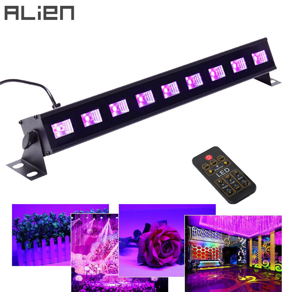 ALIEN Remote Black Light 27W 9LED UV Bar Glow Dark Party DMX Stage Lighting Effect DJ Disco Birthday Wedding Holiday Blacklight