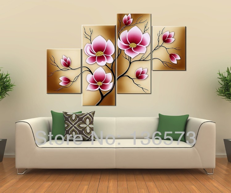 Handmade Bright Pink Flower Oil Painting Large Canvas Art Cheap ...