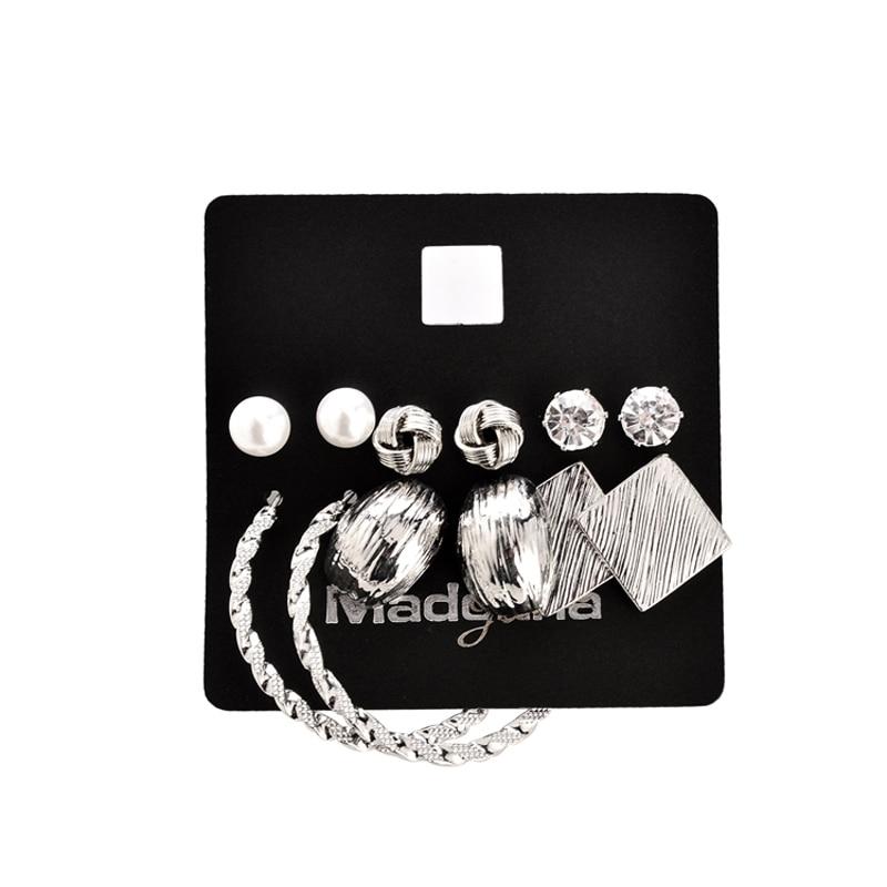 Marte & Joven Nova moda 6 parova naušnica setovi zlatne boje legure - Modni nakit - Foto 5