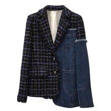 2019 新春ラペル長袖ブルーデニムチェック柄のステッチ不規則なルーズジャケットの女性のコート潮 [EAM] JI747