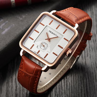 2019 novo rebirth relógio masculino marca de luxo relógio de pulso quadrado relógio de couro masculino relógio de negócios relogio masculino saati Relógios femininos     -