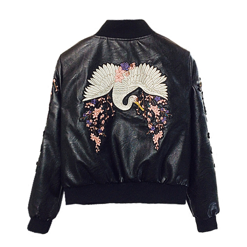 LYFZOUS Women Fashion Pu Leather Bomber s