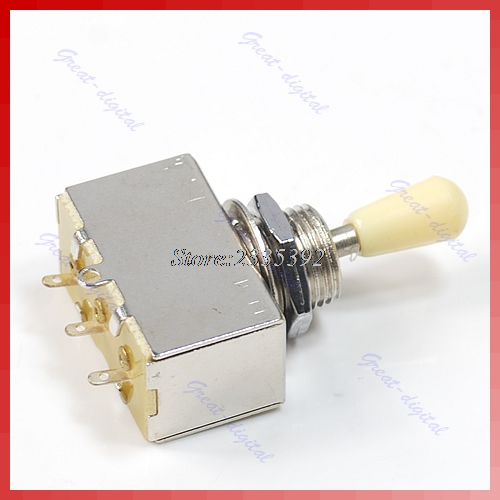 1PC New Chrome Box Style 3 Way Closed Toggle Switch For Electric Guitar Cream Knob bqlzr dc12 24v blue pattern switch s ot winch power toggle switch for old style toyota