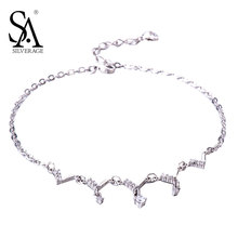 SA SILVERAGE Real 925 Sterling Silver Crystal Anklets for Women Fine Jewelry Couple Gift