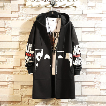 Trench Coat Men Hooded Printing Long Sleeve Mens Long Windbreaker Pocket Trench Jackets Hip Hop Street Casual Fashion Autumn casual thick wool liner hip hop jackets men punk fashion coats long sleeve hooded clothes the superhero 3d print sweatshirt 2019
