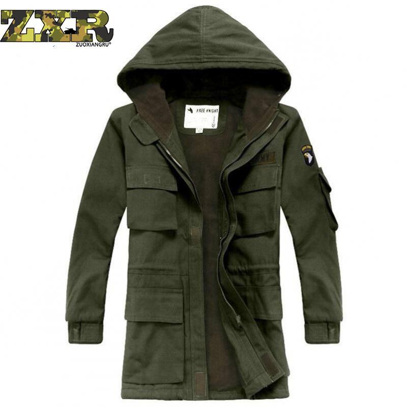 Зимние Для мужчин Тактический хлопковая куртка армии США M65 Военная Полевая куртка Тренч пальто с капюшоном Casaco Masculino ветровка осень