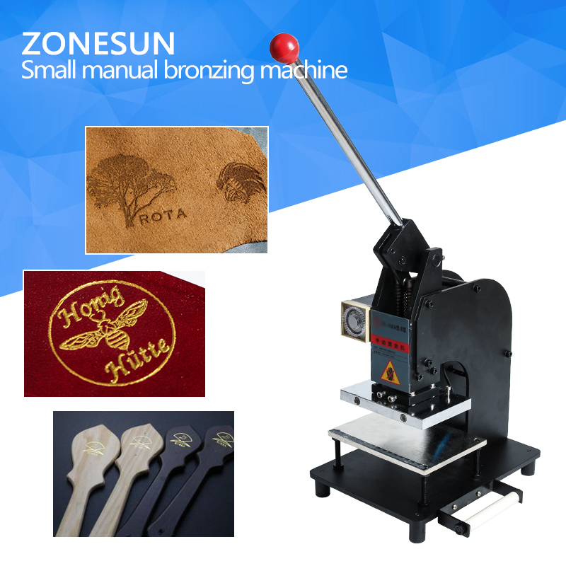 ZONESUN FREE SHIPPING Manual Hot Foil Stamping Machine Leather Logo Embossing Machine toauto digital hot foil stamping machine large 10x13cm logo embossing tool manual logo branding pvc card paper printing machine