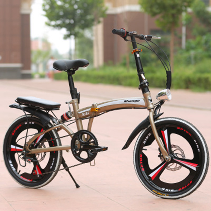Folding Bicycle 20-Inch Speed Change Three-Knife Disc Brake Men And Women Ultra-Light Students Portable Small Bicycle