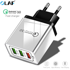 OLAF USB Charger EU 3 Ports Quick Charge 3.0 Travel Mobile Phone Charger Adapter For iPhone Xiaomi Samsung Huawei LG Fast QC 3.0
