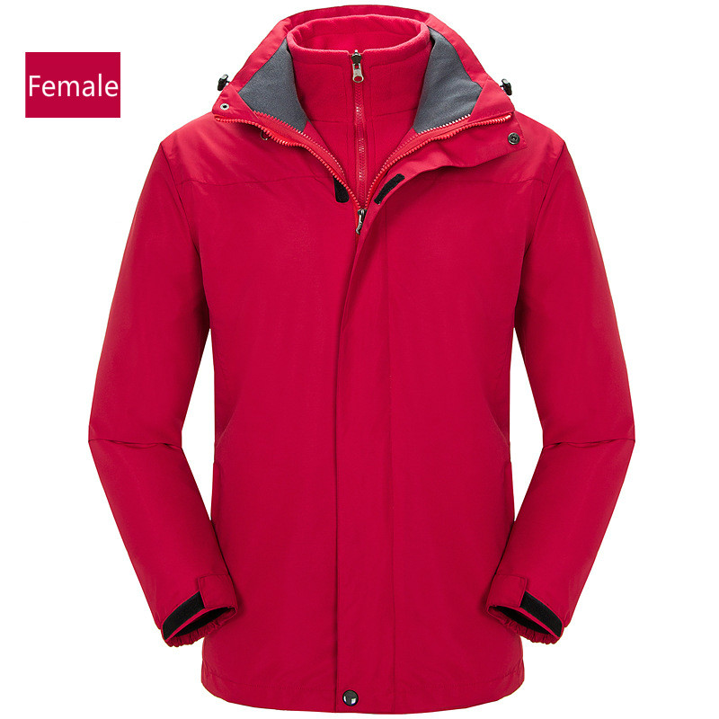 Autumn and winter men and women grab the inside of the velvet jacket outdoor sports waterproof mountaineering wear two setsAutumn and winter men and women grab the inside of the velvet jacket outdoor sports waterproof mountaineering wear two sets