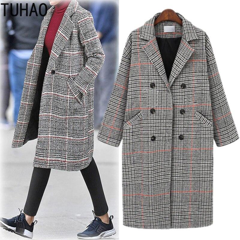TUHAO elegant Casual Women's Winter Wool Coat Plus Size 4XL 3XL 2018 Striped Office Vintage Woman Wool Blends Long Coats JA184