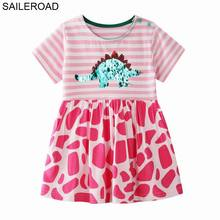 SAILEROAD Dinosaur Paillettes Dress for Girls 7Year Clothes Embroidery with Sequins Childrens Vestidos