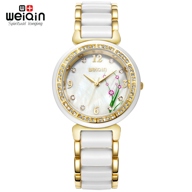 WEIQIN Flower Rhinestone Fashion Watches Women Rose Gold White Analog Quartz-watch Top Brand Dress Ladies Watch relojes mujer weiqin 1096 fashion rhinestone scale quartz watch for female