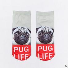 1 Pair Socks 3D Printed Funny kawaii Socks Women 2016 Cute Animal Dog free shipping