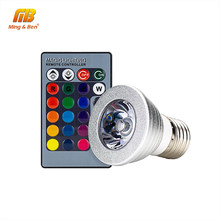 E27 RGB LED Bulb Lamp 4W AC85-265V Stage 16 Colorful Change Lamp Spotlight Home Decoration LED Lighting Lamp+IR Remote 24 keys(China)