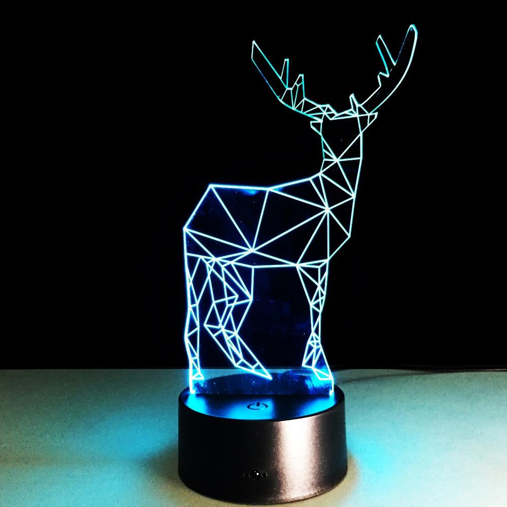 2019 Yenilik 3D Görsel Led Gece Lambası Ren Geyiği Şekli USB Masa - Gece Lambası - Fotoğraf 5
