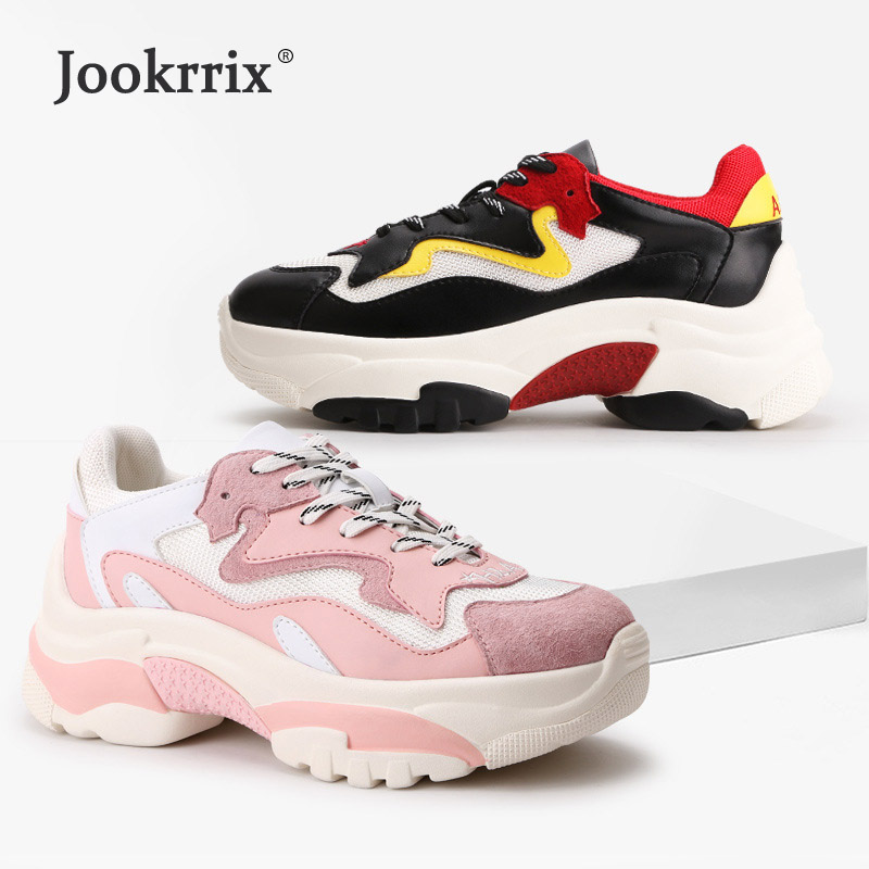 Jookrrix 2018 Autumn New Fashion Brand Real Leather Lady Casual Platform Shoes Women Shoes Girl Leisure Sneaker Breathable Soft цена