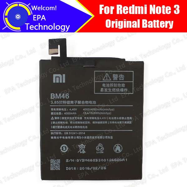 100% Original New BM46 4000mAh Replacement Battery For Xiaomi Redmi Note 3 cell phone +Free Shipping