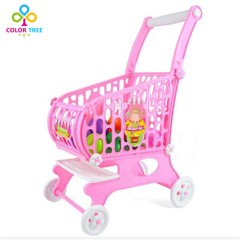 New Creative Children Pretend Play Supermarket Shopping Trolley Cart Kids Simulation Toys Children Walk Toy Gifts For Kids юбкатемн сини твое юбкатемн сини xs 1сорт