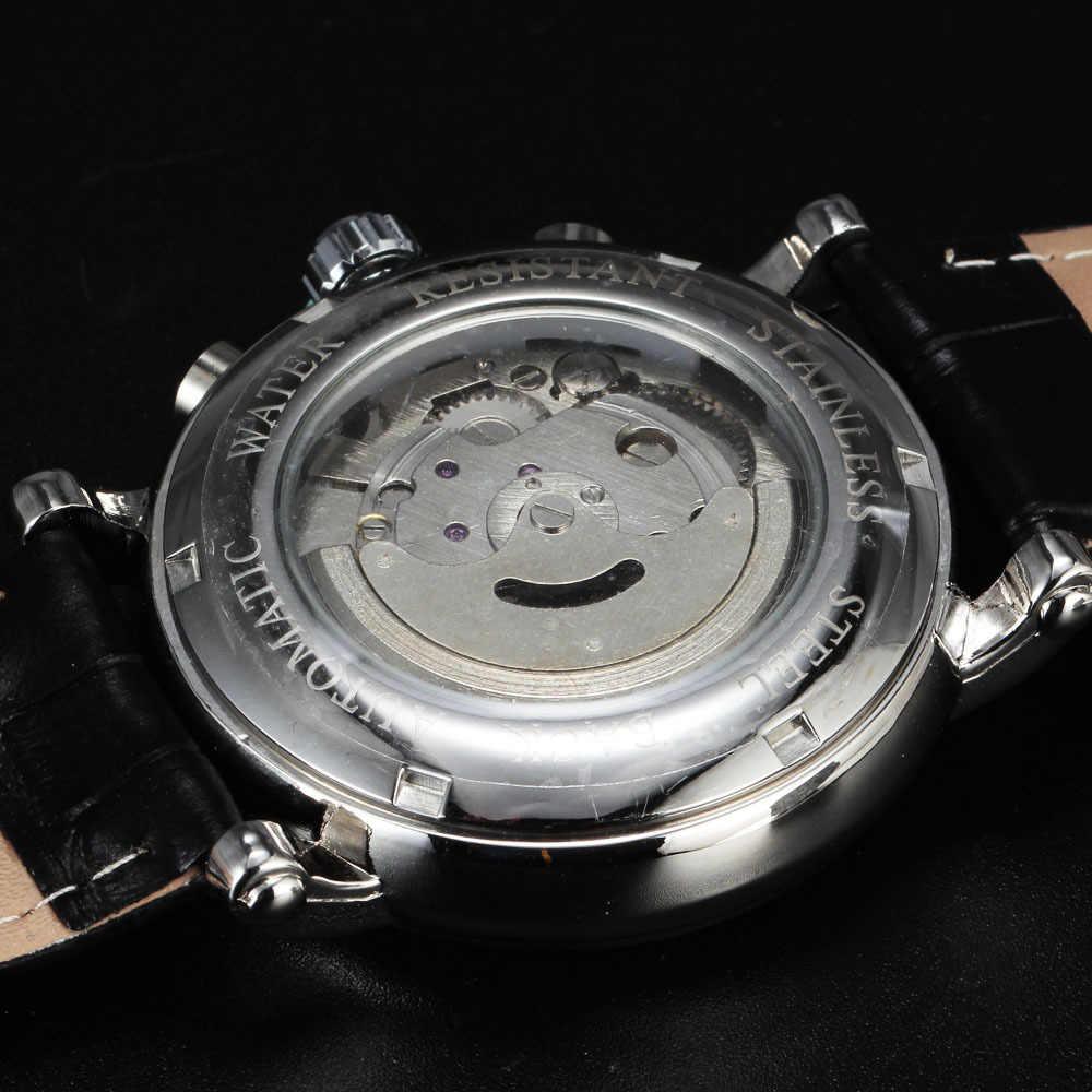 新しいjaragarブランドファッション自動機械式セルフ風24時間週日付ローマンダイヤル男性革luxuxryドレス手首腕時計