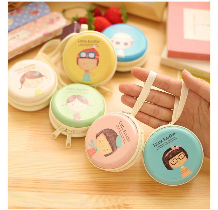 New girl pattern Colourful Portable Mini Round Portable Coin Wallet Purse Hard Key Earphone Holder Case Bag Versatile case 15