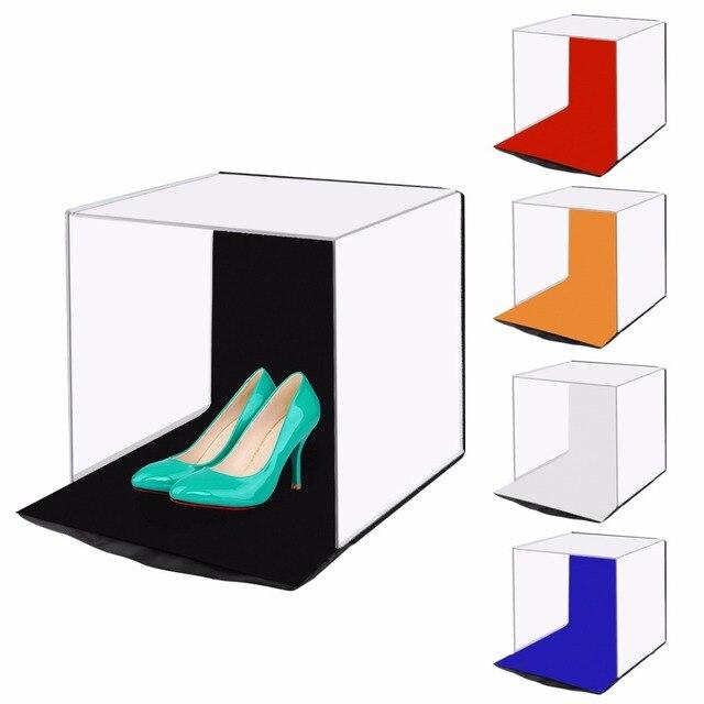 """PULUZ 40*40 centimetri 16 """"Photo studio box photograghy Softbox Portatile Pieghevole Studio di Ripresa Tenda Box Kit con 5 sfondo fondali"""