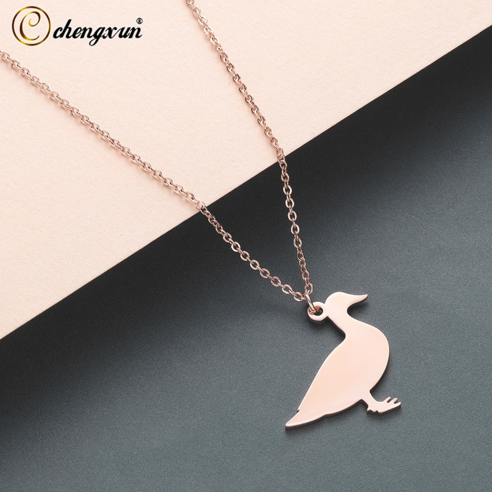 CHENGXUN Cute Duck Animal for Children Kids Stainless Steel Metal Pendants Necklace Best Gift image