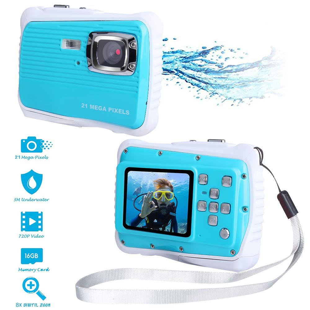 Waterproof Digital Camera Kids Digital Camera 21MP HD Underwater Action Camera Camcorder 2.0 Inch LCD Screen 8X Digital Zoom