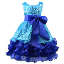 Multi Layer Girls Dresses for Party and Wedding Draped Luxury Girls Sequin Formal Evening Gown Bowknot Party Dress Purple