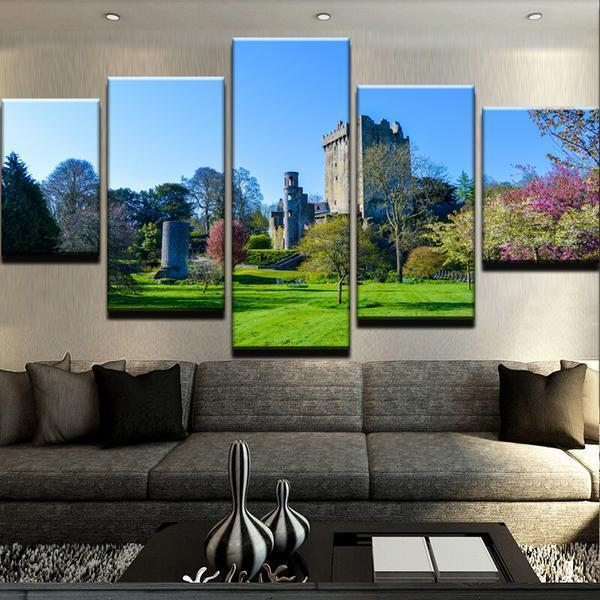 hd printed 5 piece canvas art wall decor emerald isle castle canvas set home decor in painting calligraphy from home garden on aliexpresscom alibaba